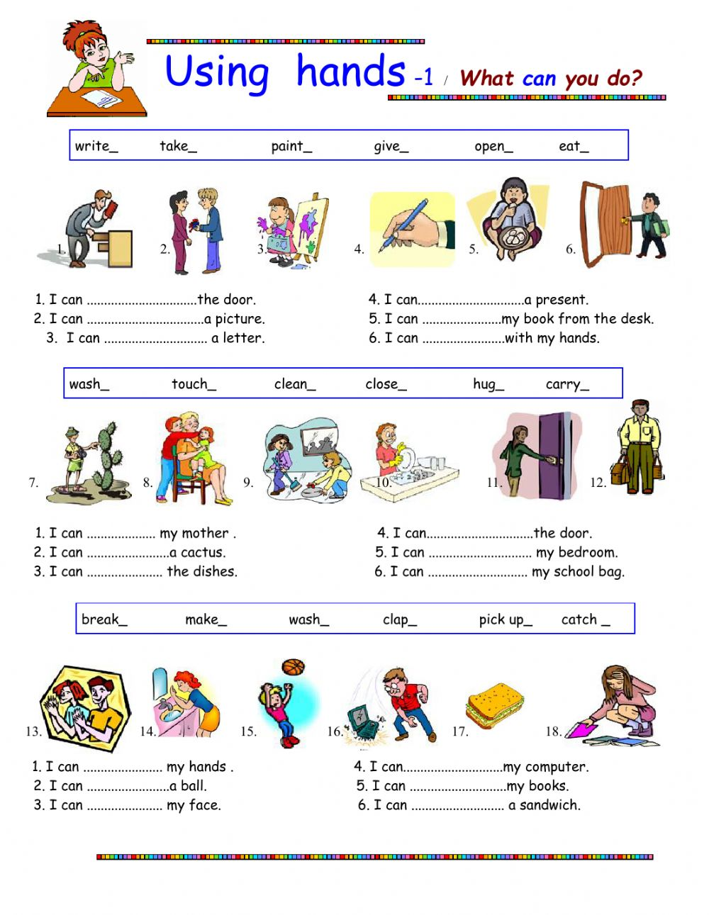 Using Hands What Can You Do Interactive Worksheet