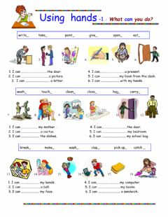 Using Hands - What can you do? worksheet preview