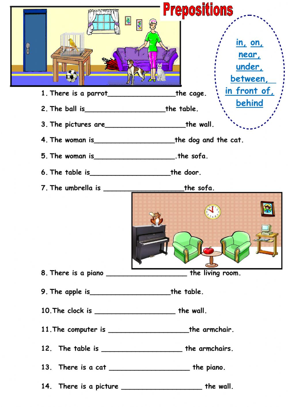 Prepositions of place Interactive worksheets – Prepositions of Place Worksheet