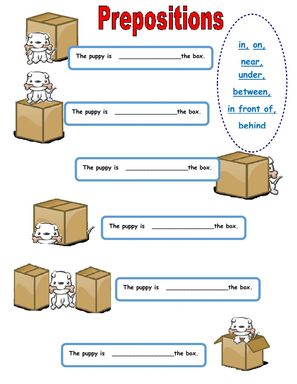 Where is the puppy? - Interactive worksheet