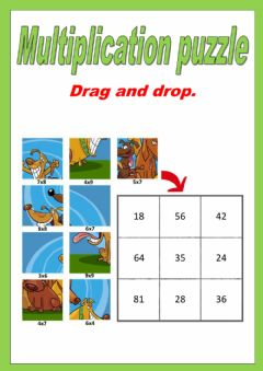 Ficha interactiva Single digit Multiplication puzzle