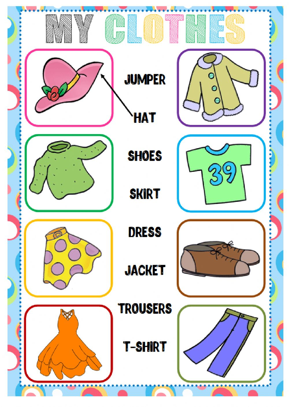 Clothes (Matching) - Interactive worksheet