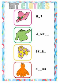 Interactive worksheet Clothes (Spelling)