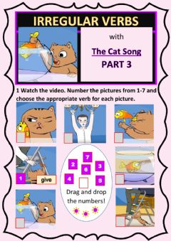 Interactive worksheet Irregular Verbs Cat Song Part 3 (out of 3)
