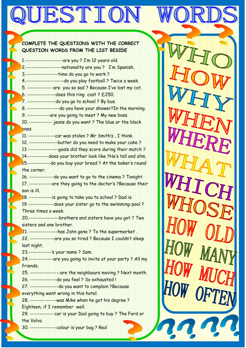 question words practice interactive worksheet