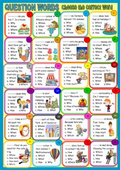Question words: multiple choice worksheet preview