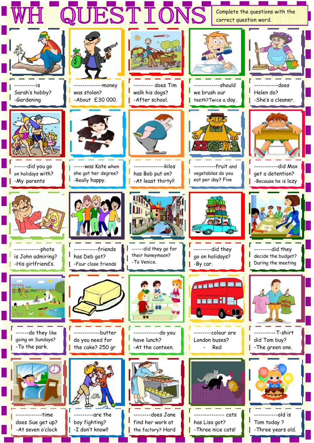 Wh questions Interactive worksheet – Why Questions Worksheet