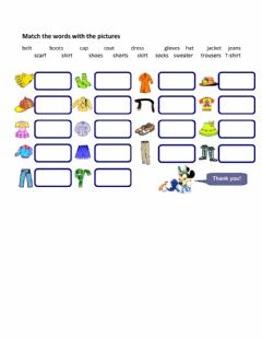 Interactive worksheet Clothing - Drag and drop