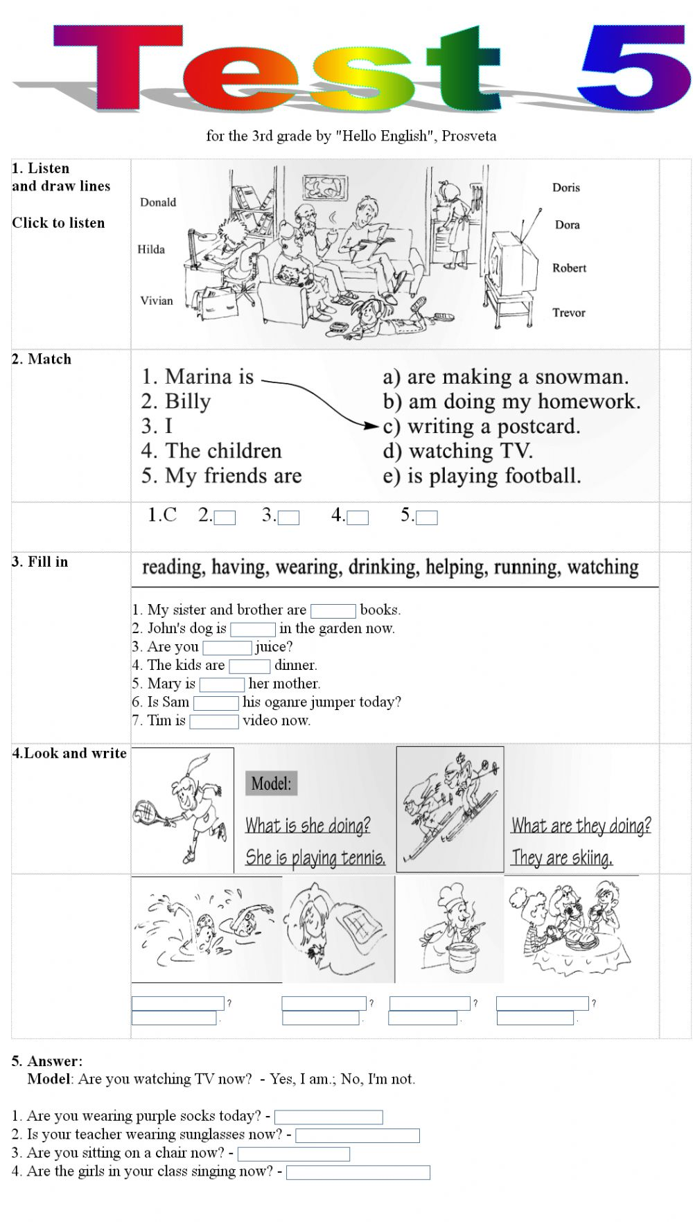 - Test 5 For The 3rd Grade - Interactive Worksheet