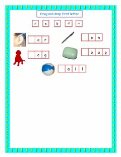 Interactive worksheet First Letter drag and drop