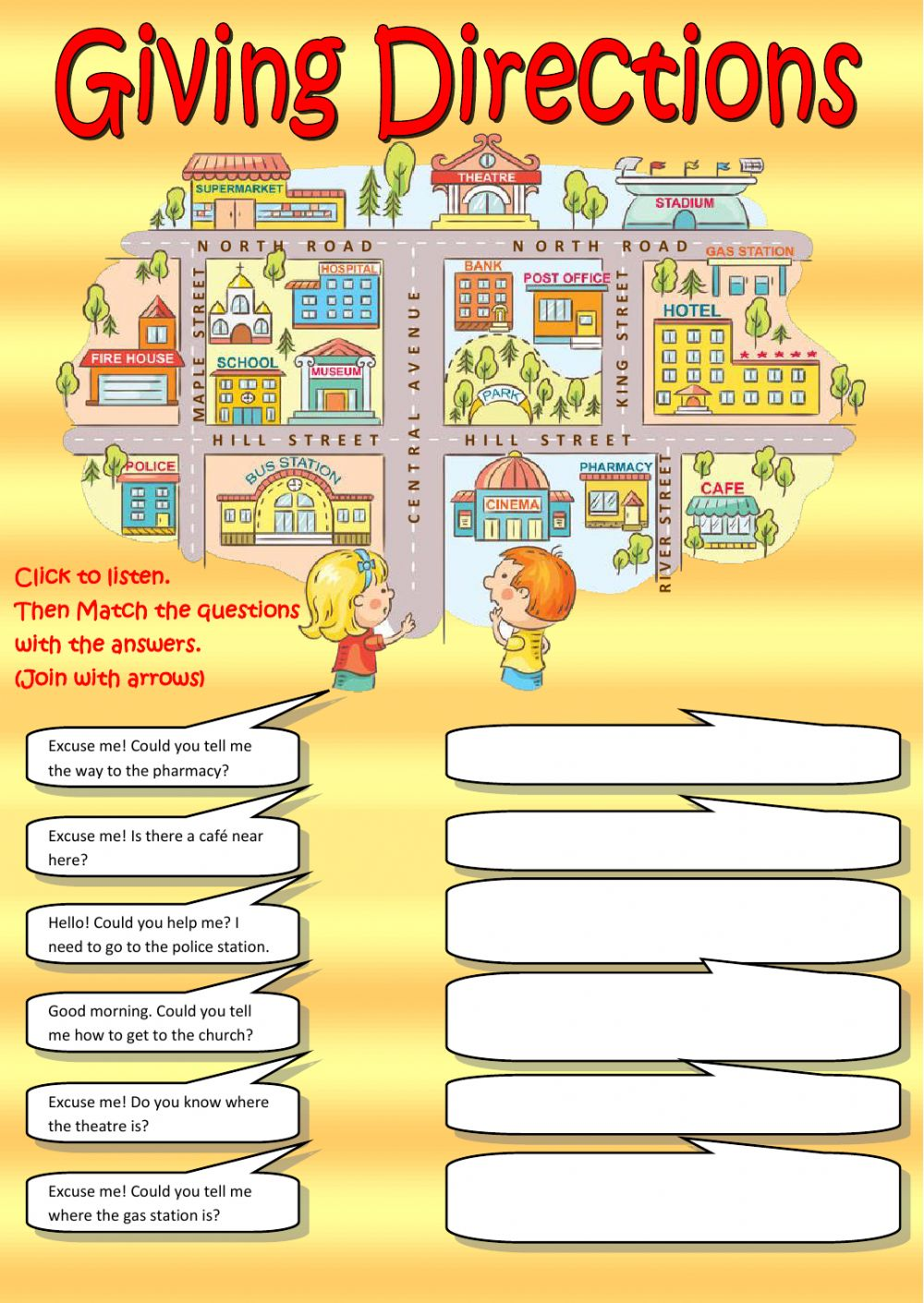 Giving Directions Listening Interactive Worksheet