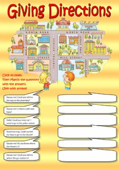 Giving directions (listening) worksheet preview