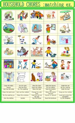Household chores : matching worksheet preview