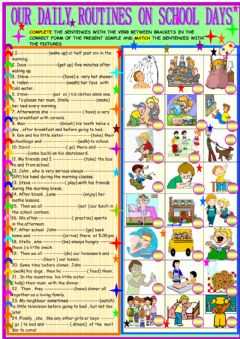 Interactive worksheet Daily routines on school days