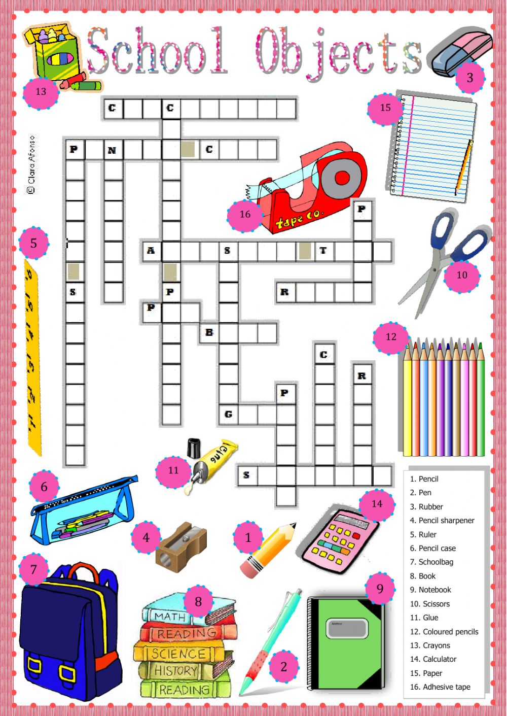 School oblects   Interactive worksheet