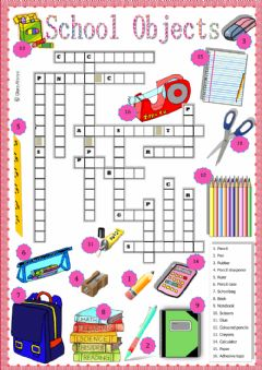 Interactive worksheet School oblects