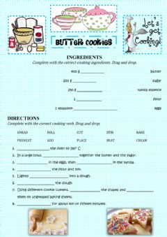 Interactive worksheet BUTTER COOKIES RECIPE