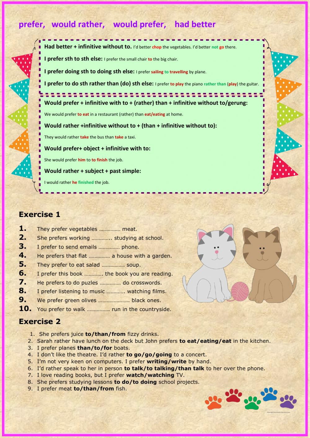 Free Worksheets light worksheet : Prefer, would rather, would prefer, had better ...