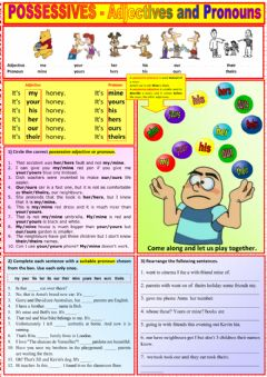 Possessives - Adjectives and Pronouns worksheet preview