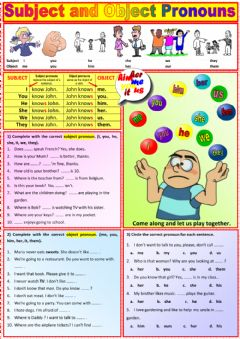 Ficha interactiva Subject and Oject Pronouns