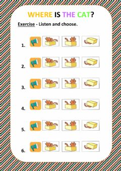 Prepositions - Listen and choose worksheet preview