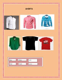 Interactive worksheet shirts