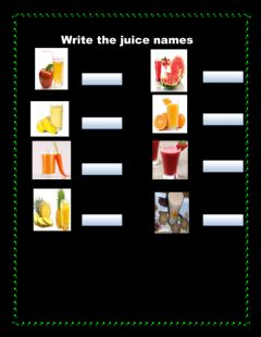 Interactive worksheet write the juice names