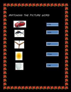 Interactive worksheet Matching the picture word