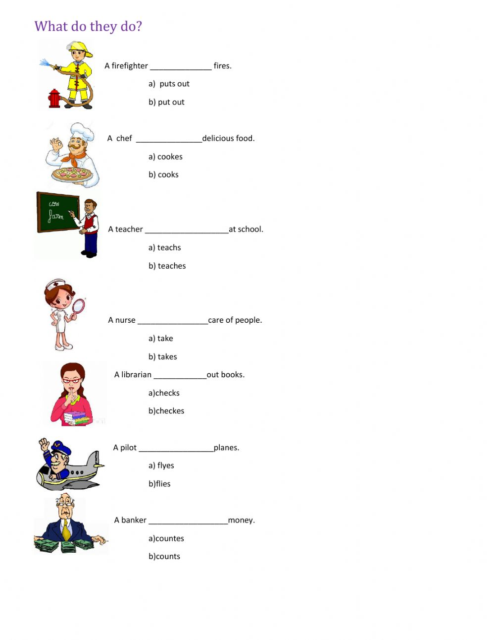 Workbooks plural rules worksheets : Present Simple Interactive worksheets