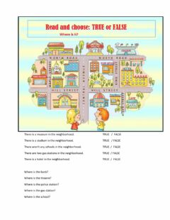 Places in my neighborhood. worksheet preview