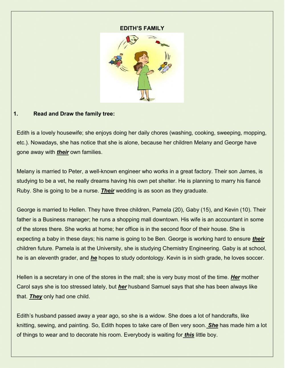 Workbooks simple reading worksheets : Family reading comprehension and other activities - Interactive ...