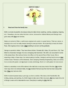 Family reading comprehension and other activities worksheet preview
