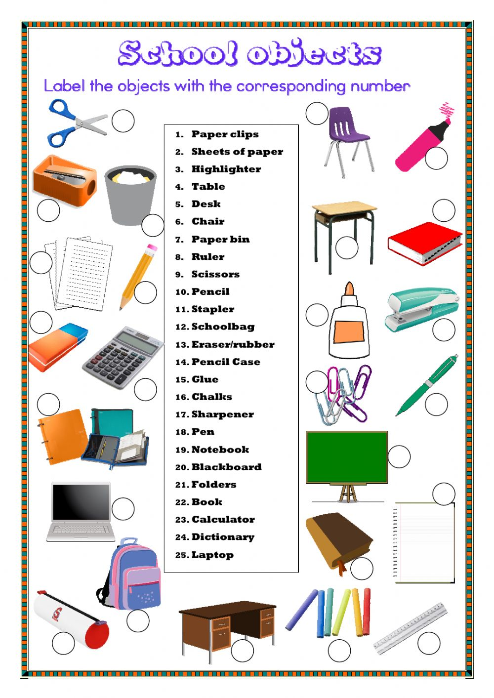 school objects interactive worksheet. Black Bedroom Furniture Sets. Home Design Ideas