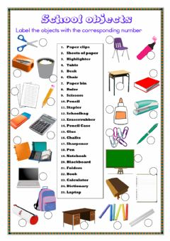 Interactive worksheet School Objects