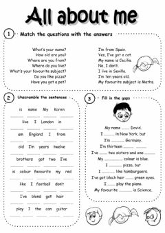 Interactive worksheet All about me