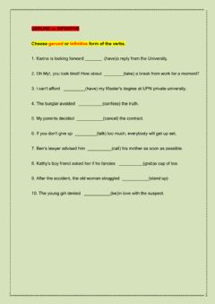 Gerunds and Infinitives worksheet preview