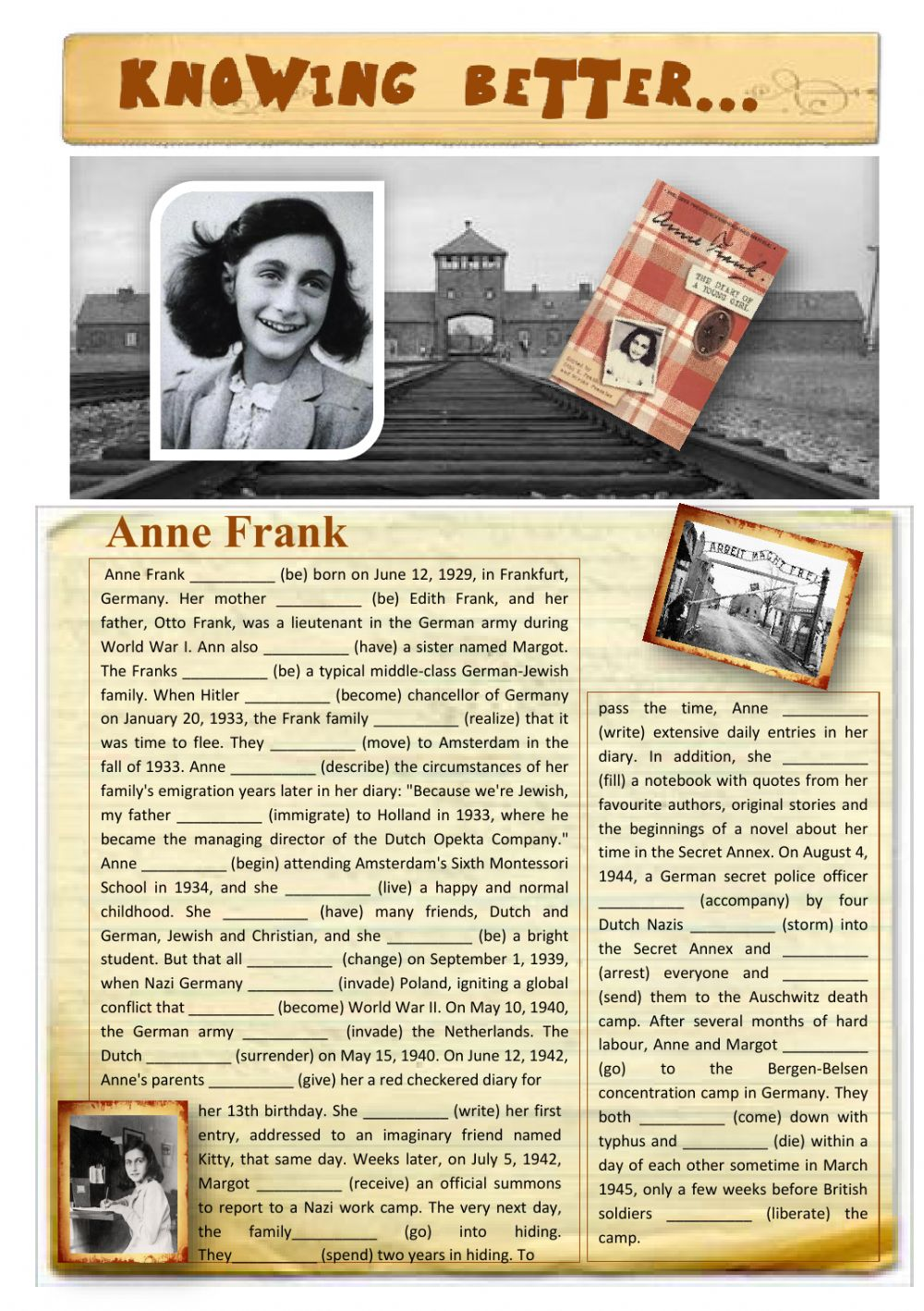 Worksheets Anne Frank Worksheets knowing better anne frank interactive worksheet text