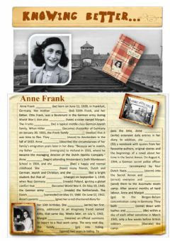 Interactive worksheet Knowing Better...Anne Frank
