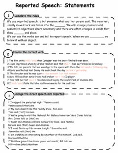 Reported Speech worksheet preview