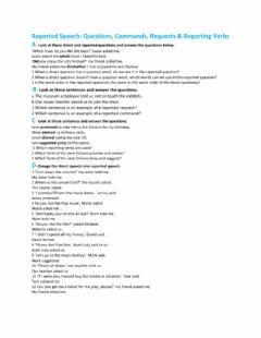 Interactive worksheet Reported Speech: Questions, Commands, Requests - Reporting Verbs