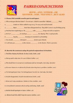 Paired conjunctions worksheet preview