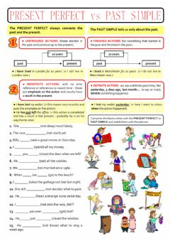Interactive worksheet PAST SIMPLE or PRESENT PERFECT?