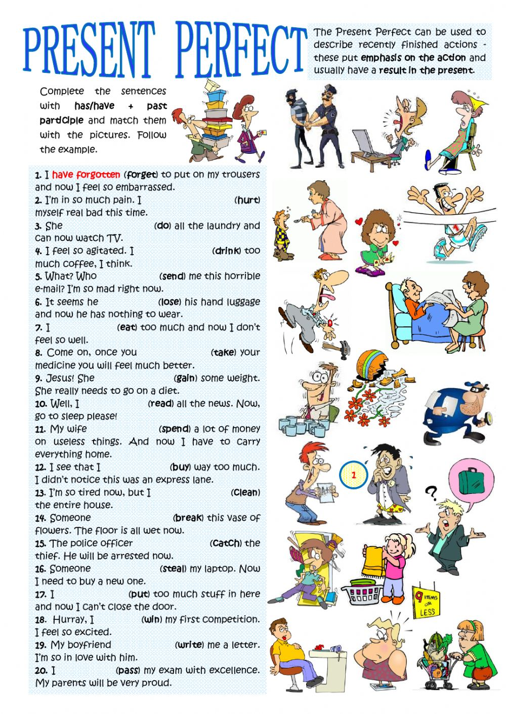 Present Perfect Present Results Interactive Worksheet