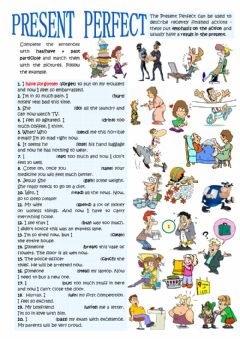 PRESENT PERFECT - present results worksheet preview