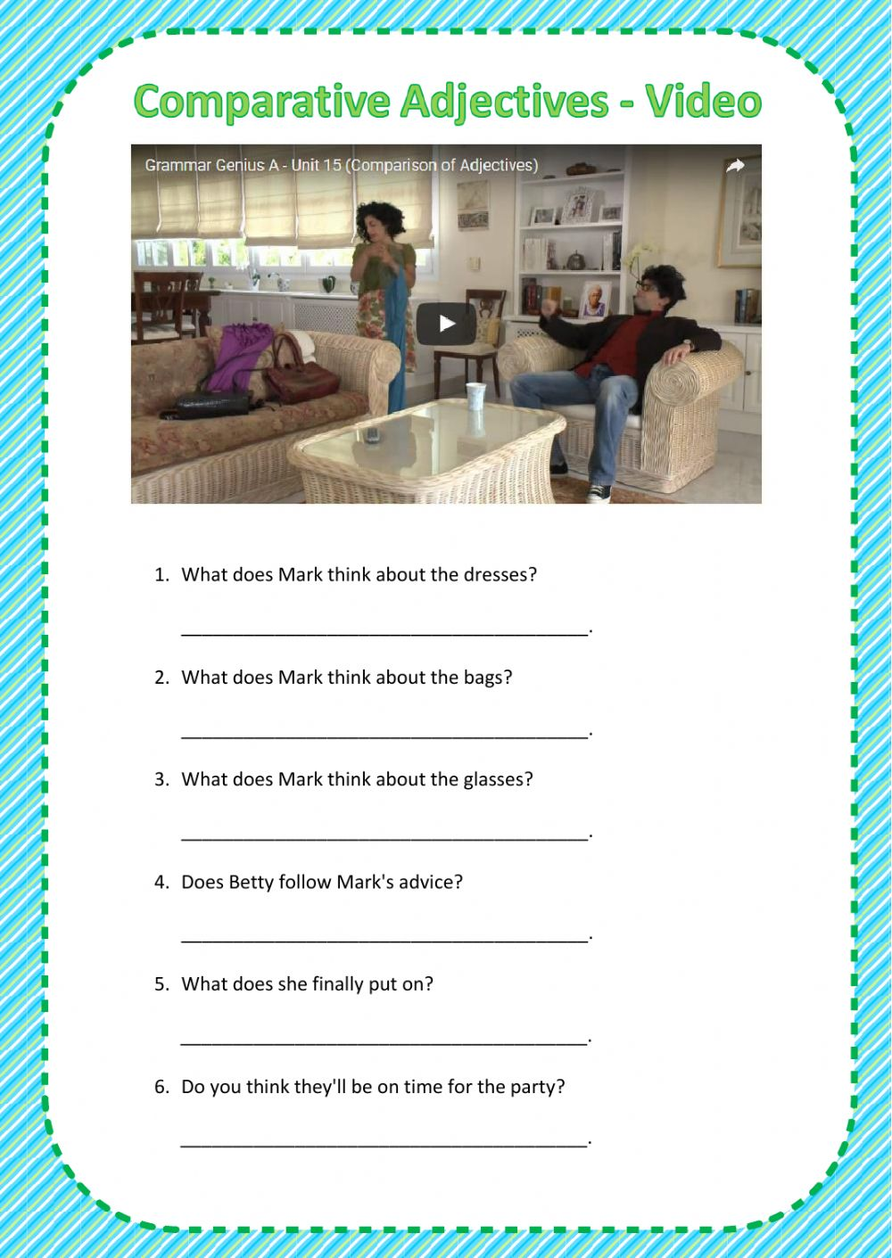 Comparative Adjectives Video Interactive worksheet – Comparative Adjectives Worksheets