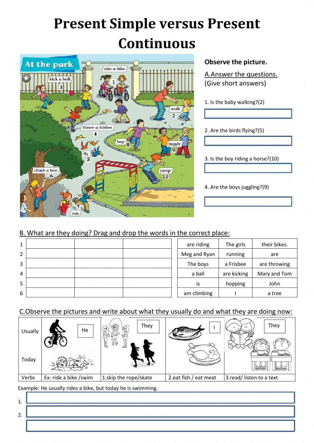 Worksheets Present Progressive Worksheets present simple and continuous interactive worksheets worksheet versus continuous