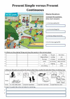 Interactive worksheet Present simple versus Present continuous