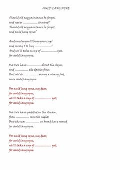 Auld Lang Syne worksheet preview