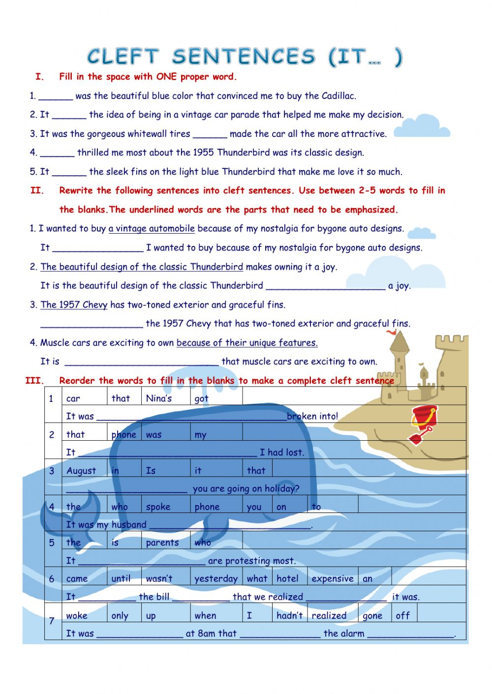 Cleft sentences (It...) - Interactive worksheet