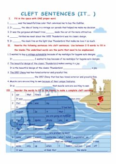 Interactive worksheet Cleft sentences (It...)